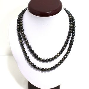 7 x 7 mm Black Freshwater Pearl Necklace